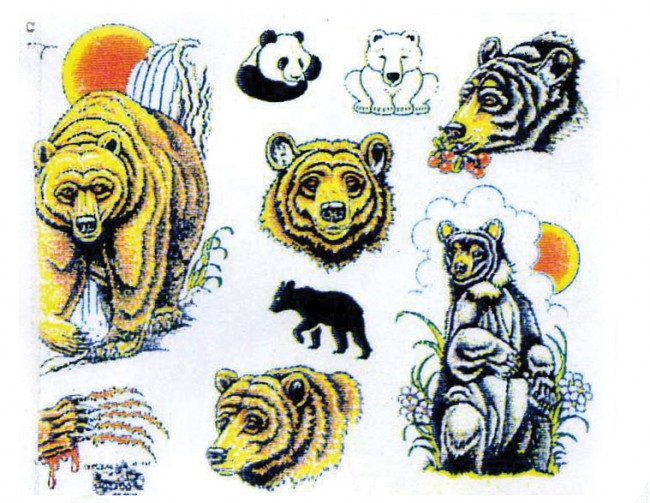 Татуировки слон и медведь